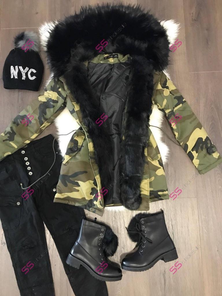 Maskáčová zimná bunda s extra hustou kožušinou  021096dc6eb