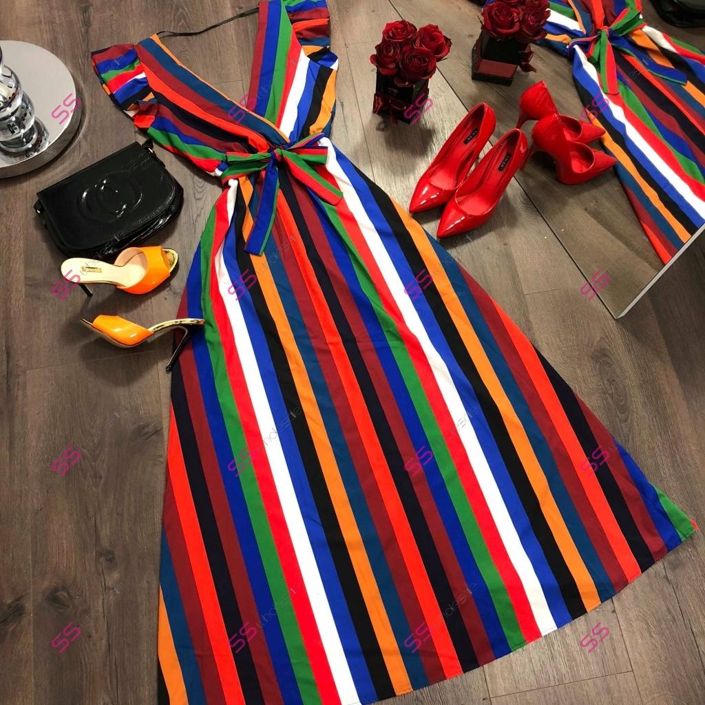 76c79cc4b658 Pásikavé dlhé šaty Fatima