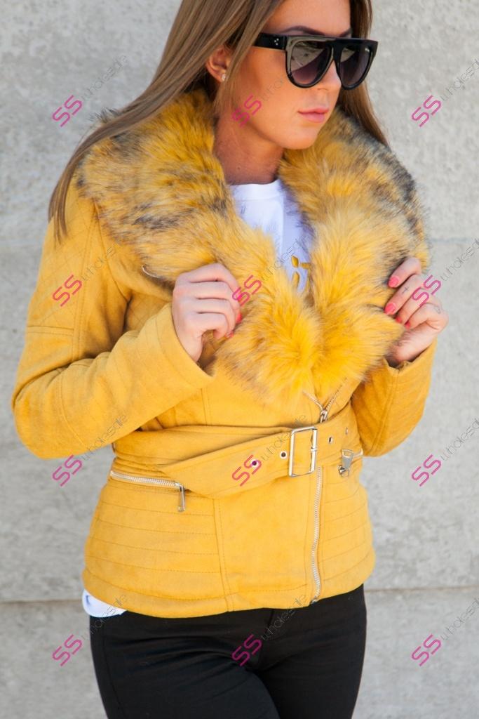Jelenicová zimná bunda s kožušinou POLINA   2f4f6a3d237